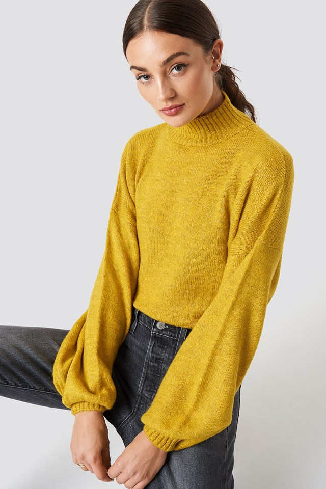 High Neck Balloon Sleeve Knitted Sweater NA-KD