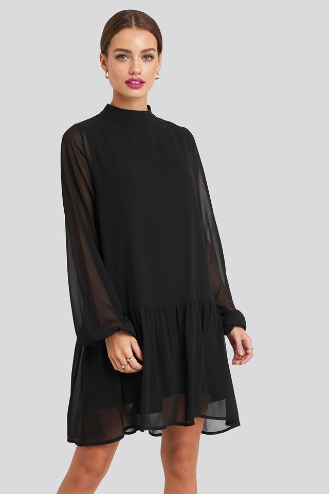 High Neck Balloon Sleeve Mini Dress Black