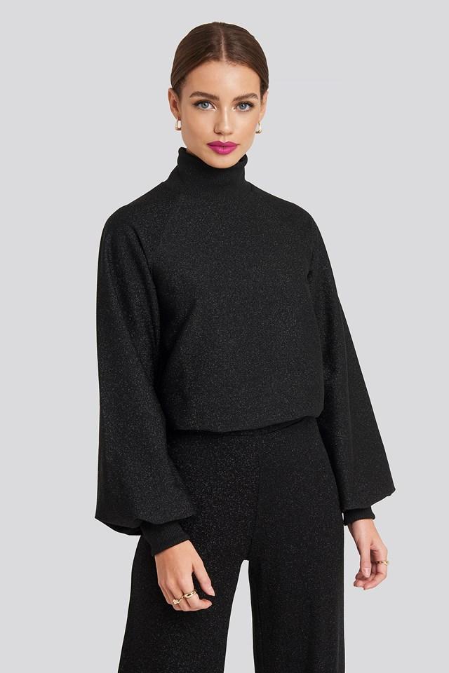 High Neck Balloon Sleeve Sweater Black