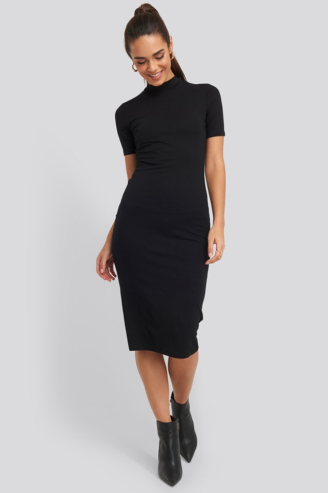 High Neck Bodycon Midi Dress Black