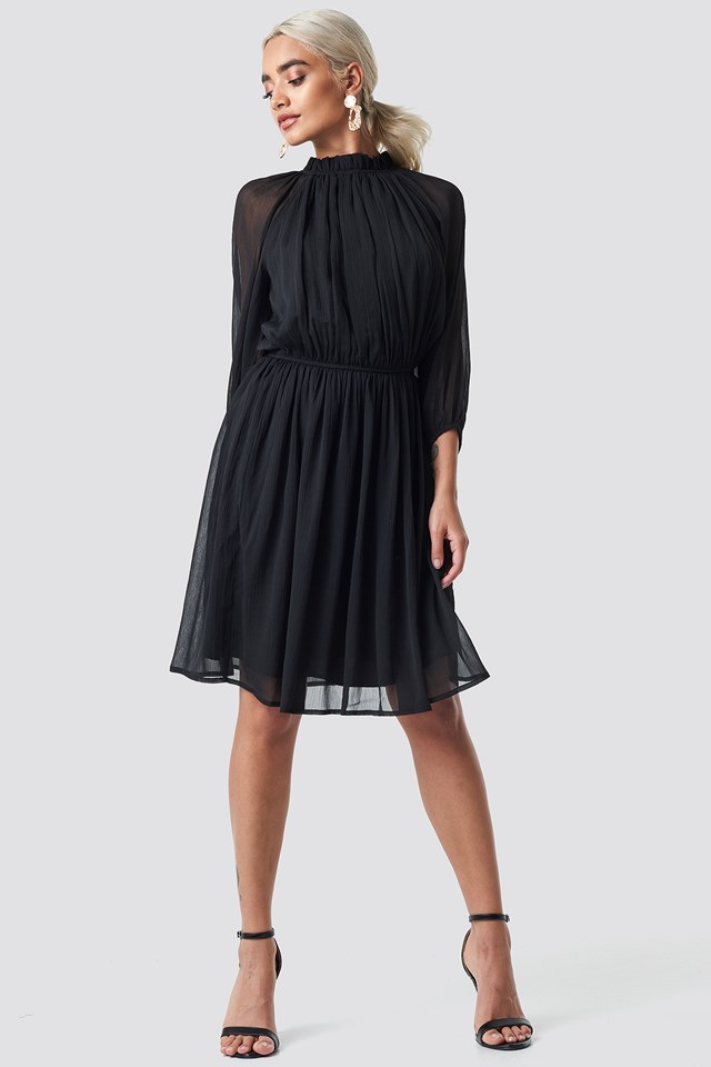 High Neck Elastic Waist Puff Dress Black