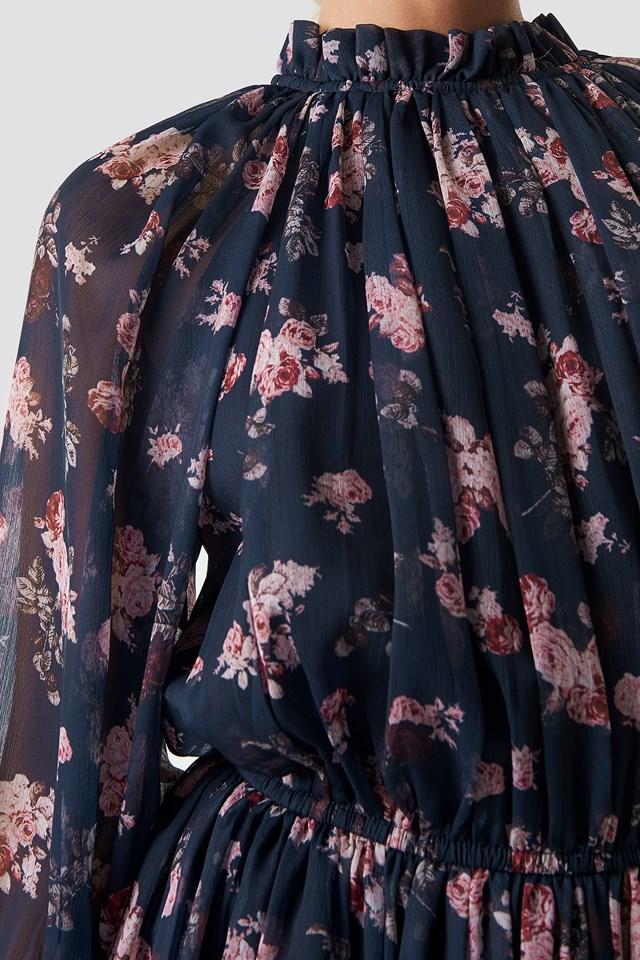 High Neck Elastic Waist Puff Dress Dark Blue Flower