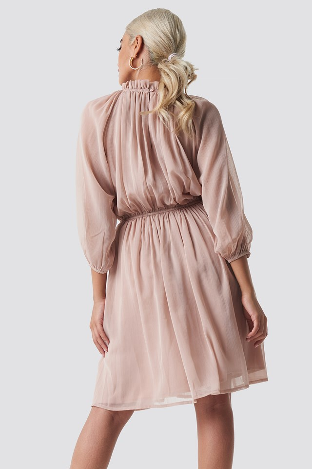 High Neck Elastic Waist Puff Dress Dusty Pink