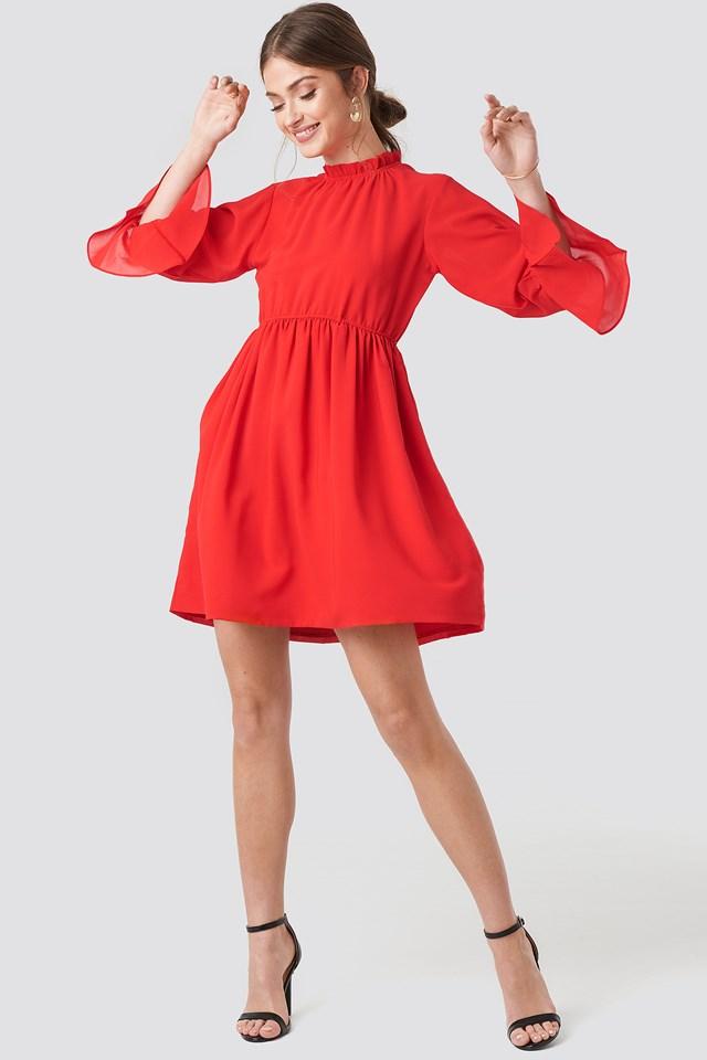 High Neck Flare Mini Dress Red