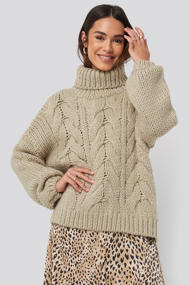 Wool Blend High Neck Heavy Cable Knitted Sweater NA-KD Trend