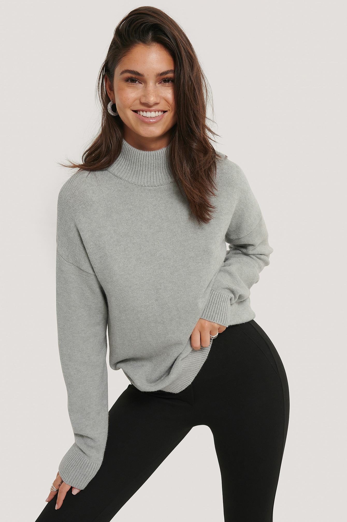 Grey Melange High Neck Knitted Sweater
