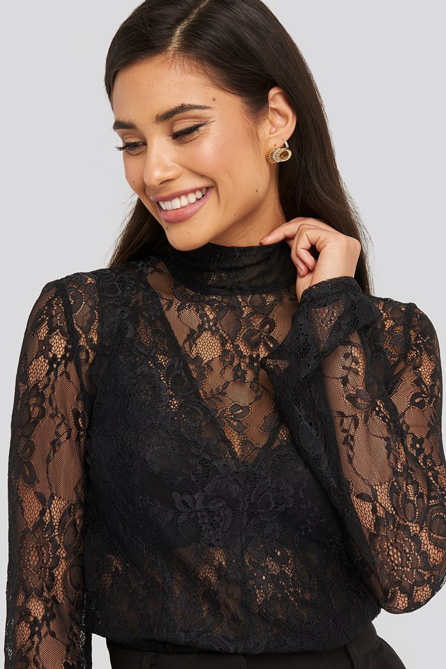 High Neck Lace Top Black
