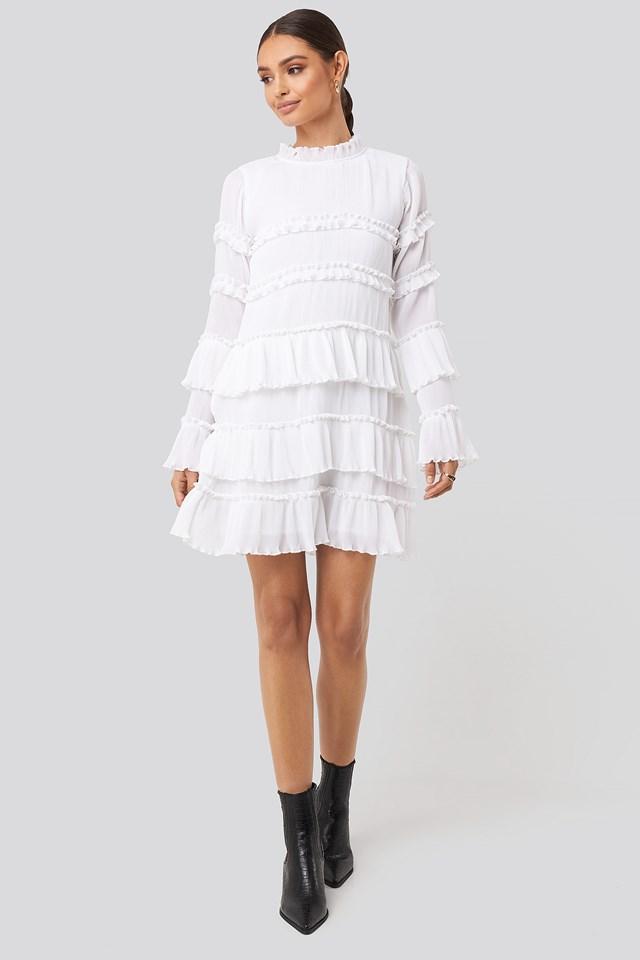 High Neck Layered Mini Dress White
