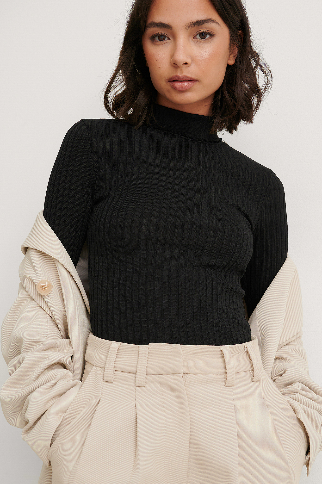 Black Recycled High Neck Long Sleeve Top