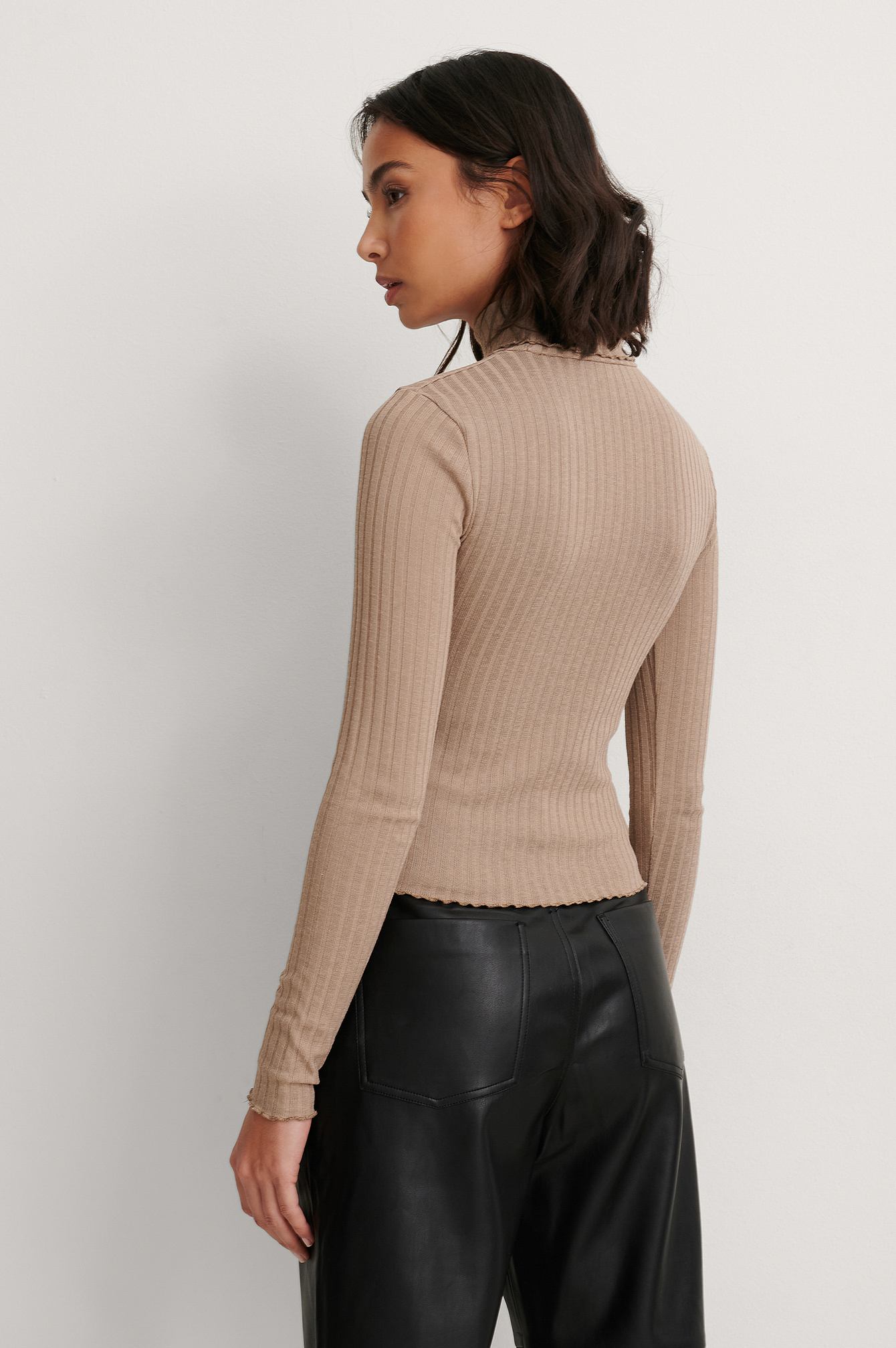 Beige Recycled High Neck Long Sleeve Top