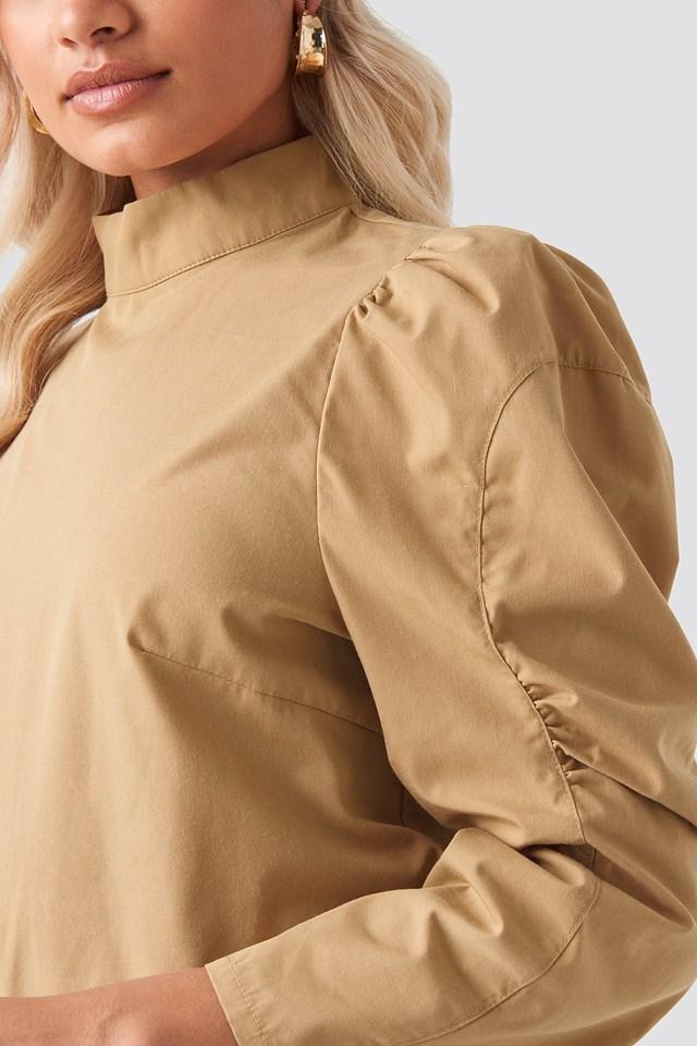 High Neck Puff Sleeve Blouse Beige