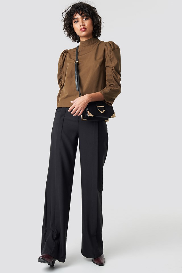 High Neck Puff Sleeve Blouse Brown