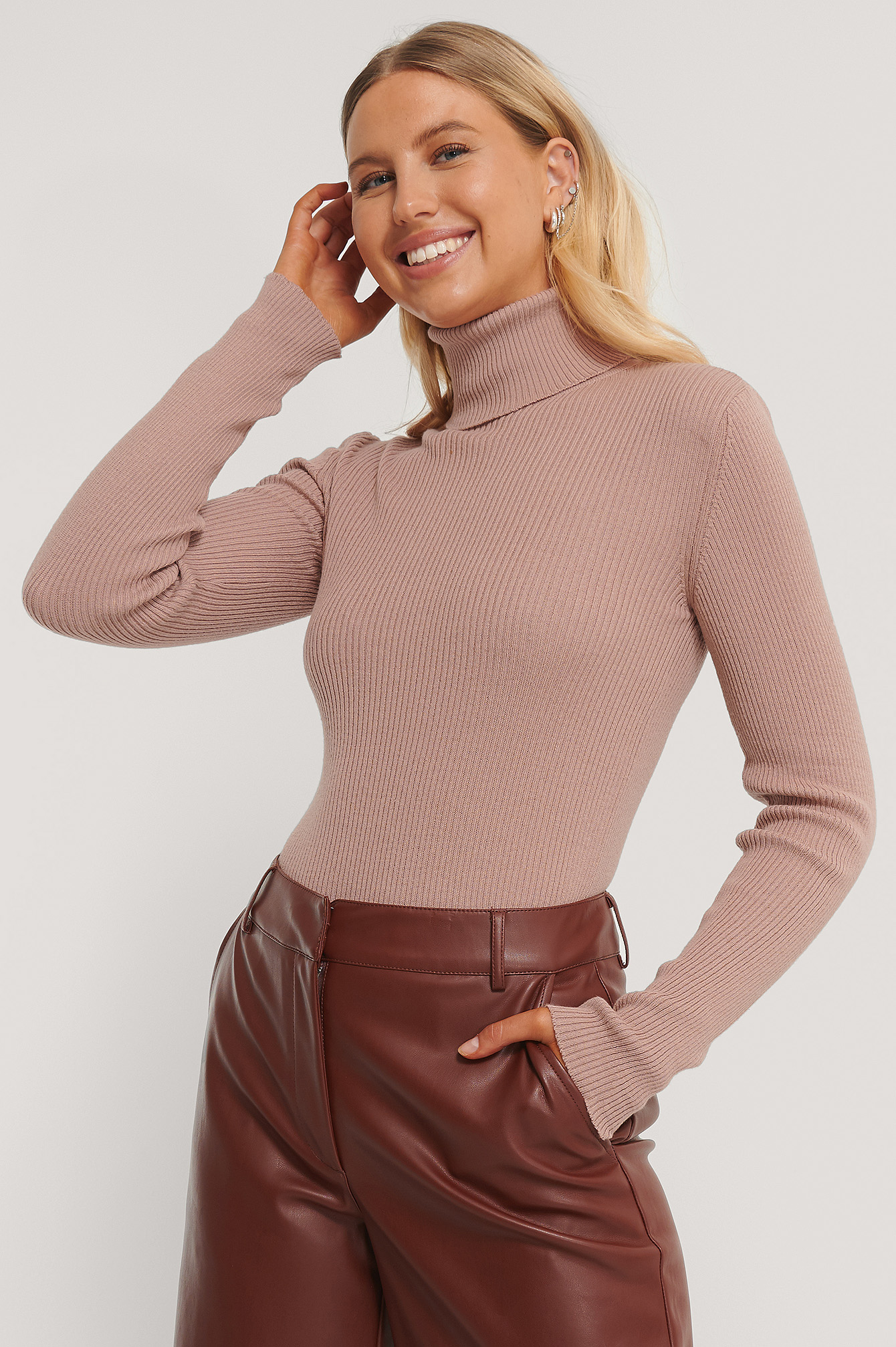 Dusty Pink High Neck Rib Knit Sweater