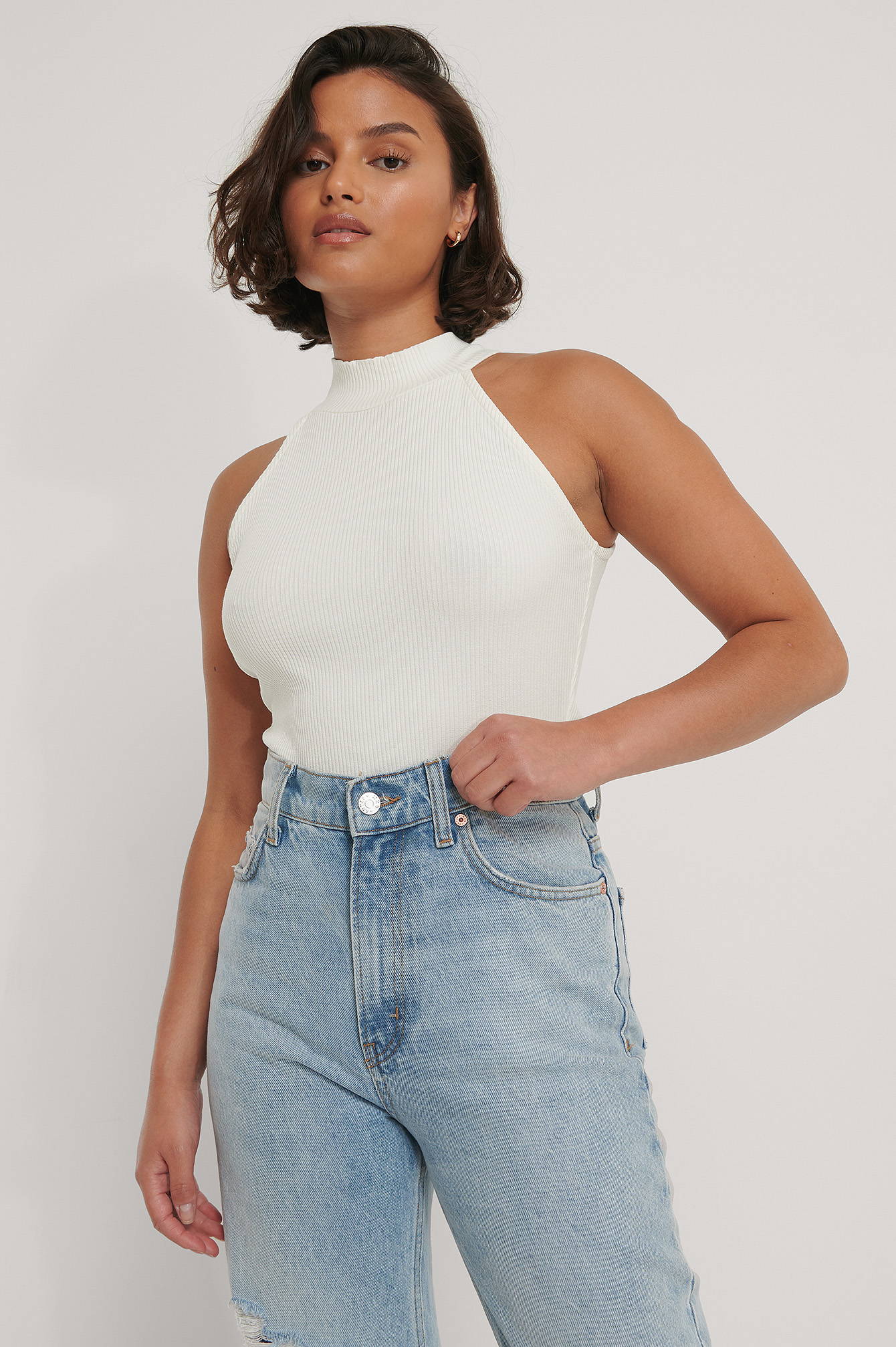 Offwhite High Neck Rib Top