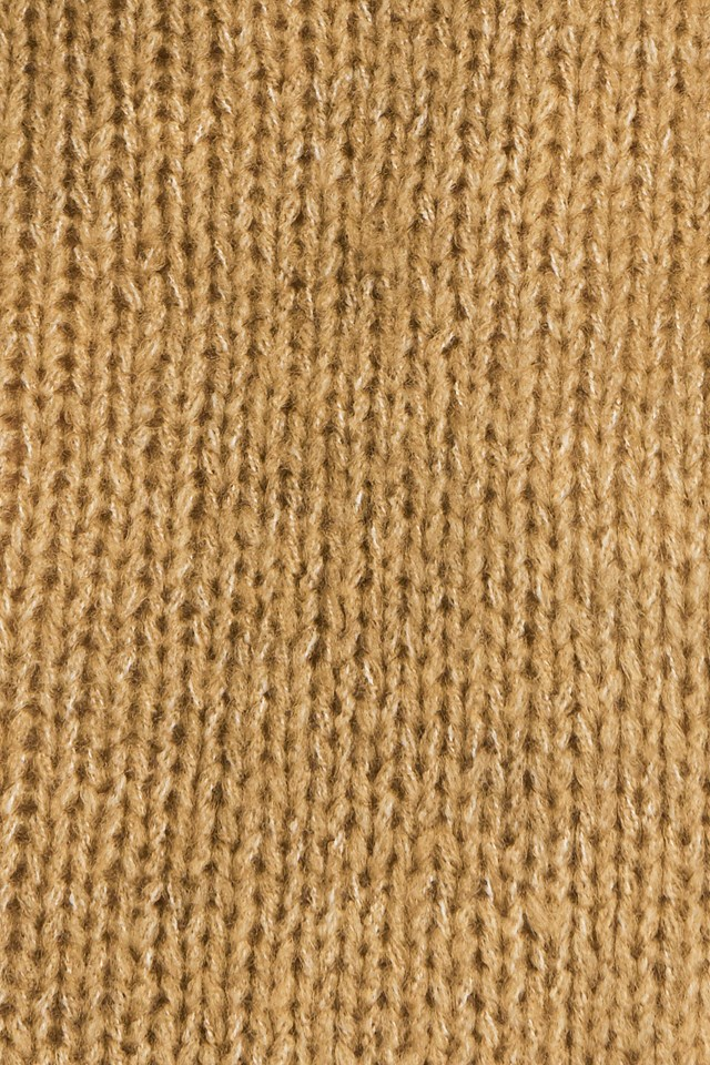 High Neck Ribbed Knitted Sweater Beige