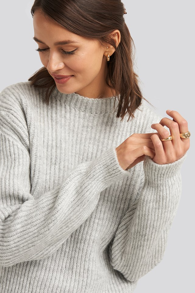 High Neck Ribbed Knitted Sweater Light Grey