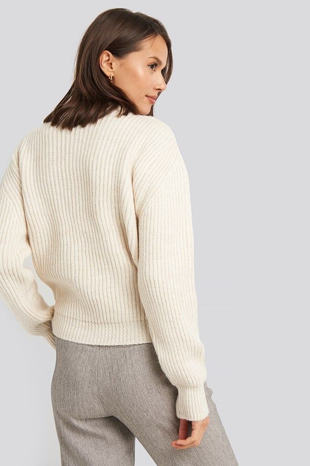 High Neck Ribbed Knitted Sweater Offwhite