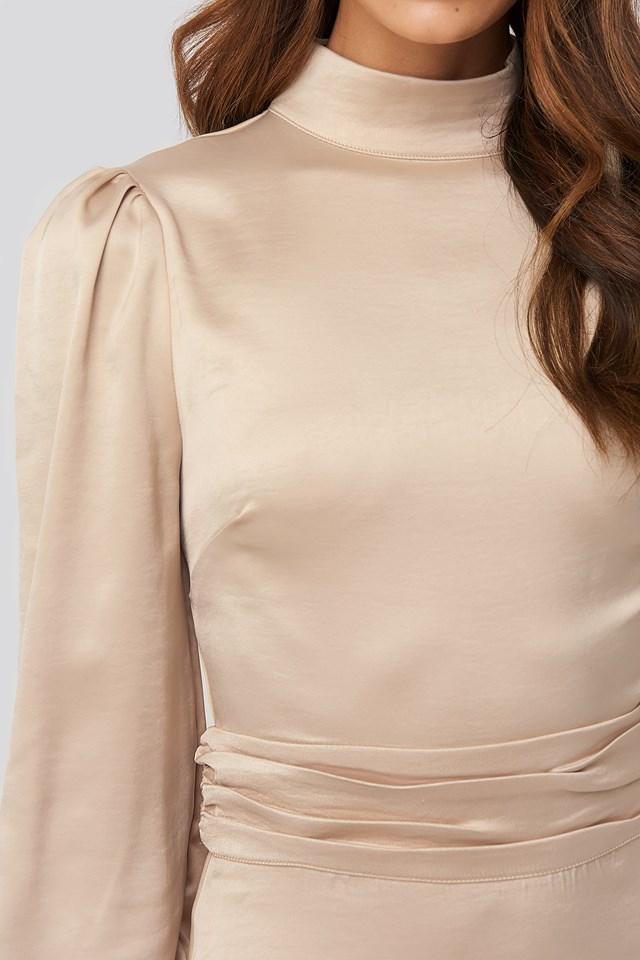 High Neck Satin Dress Light Beige