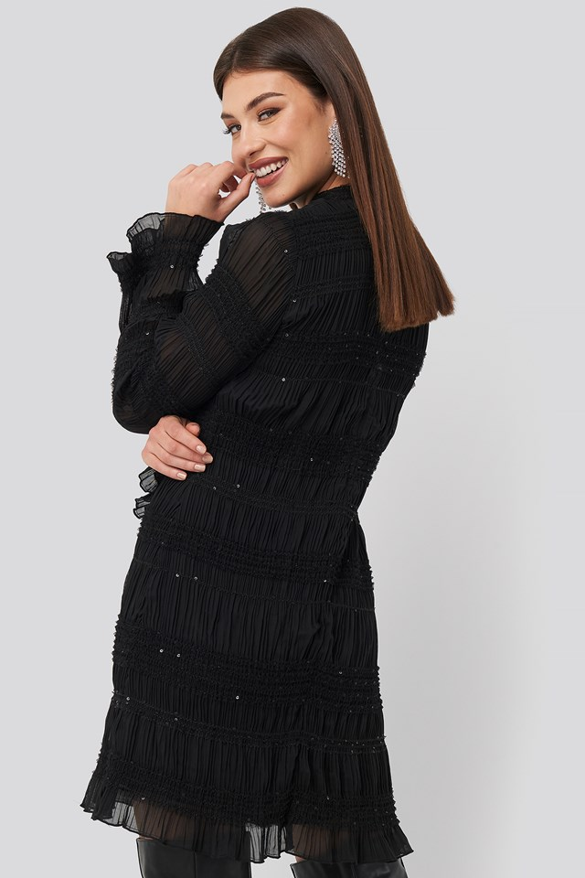 High Neck Sequins Detail Dress Black