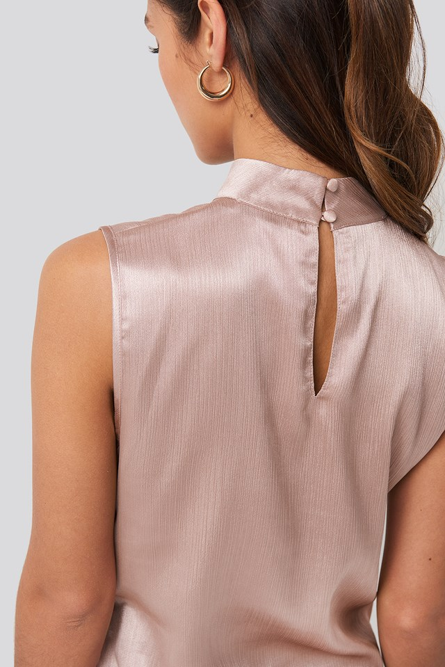 High Neck Structured Satin Top Dusty Pink
