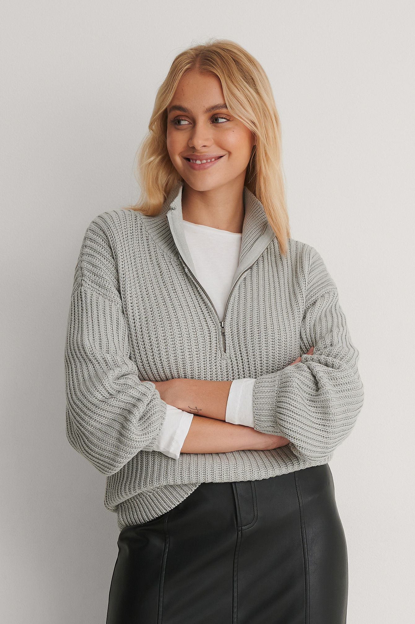 Grey Organic High Neck Zipped Knitted Sweater