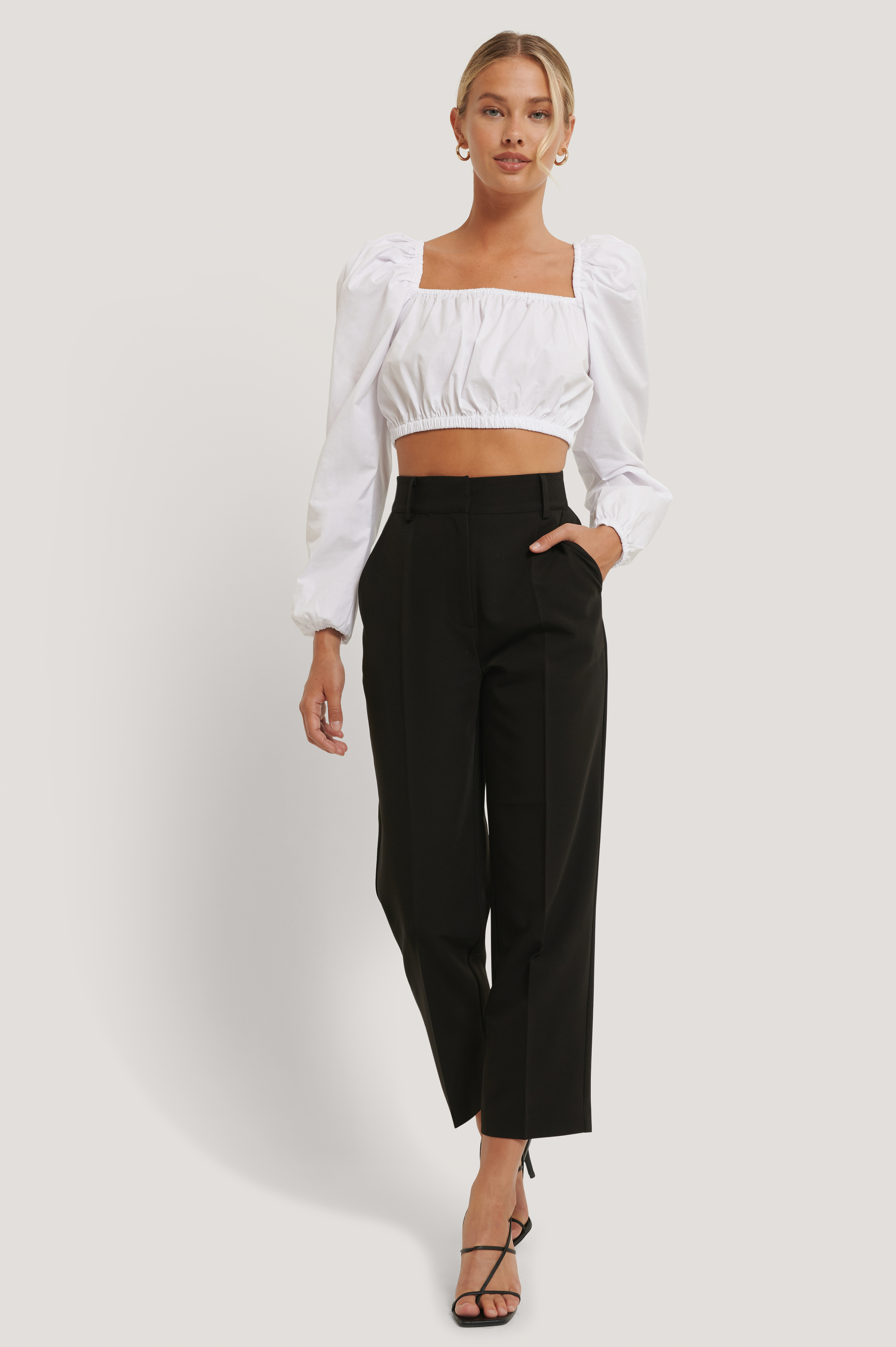 Black High Rise Cropped Suit Pants