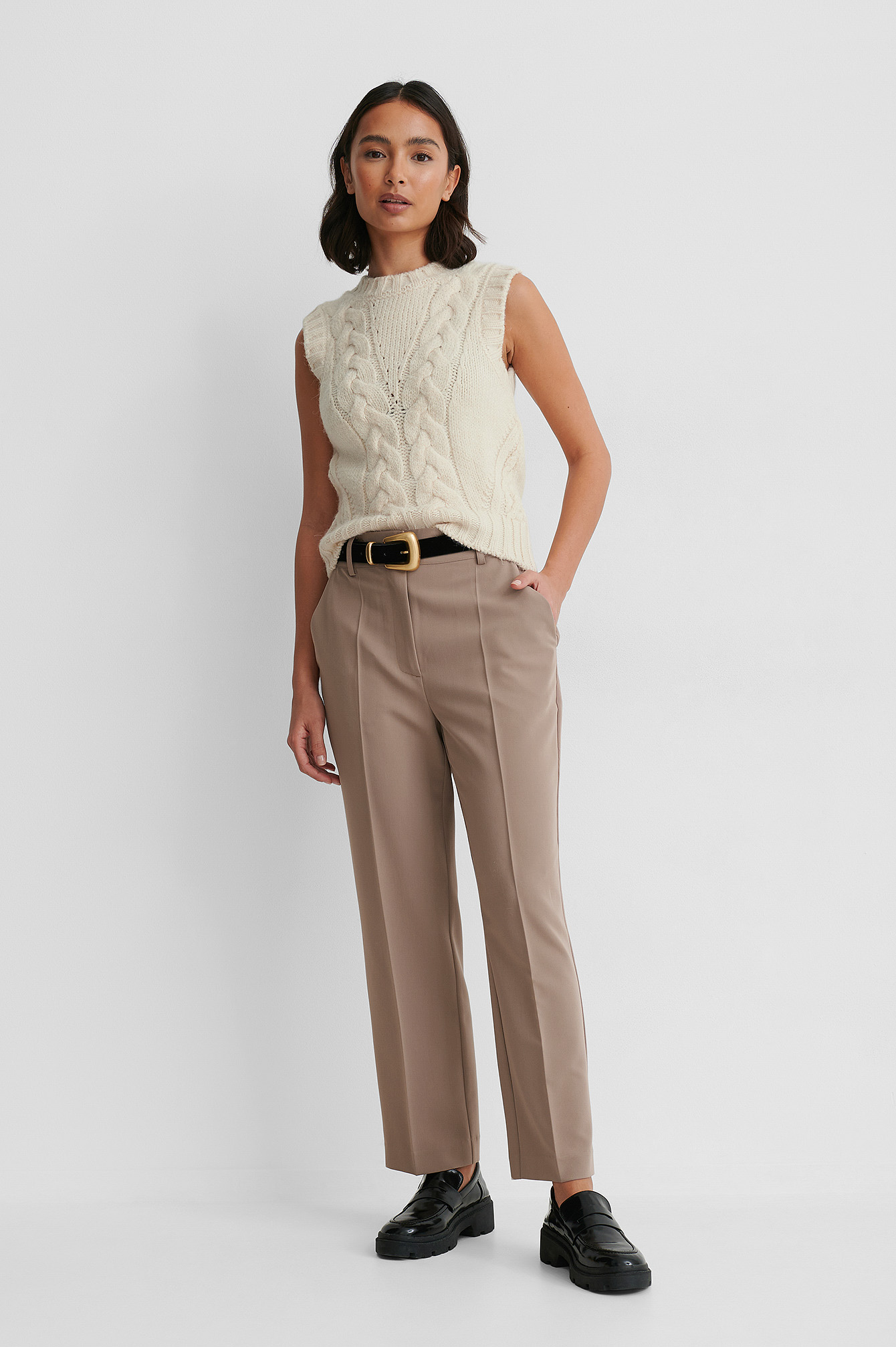 Taupe High Rise Cropped Suit Pants