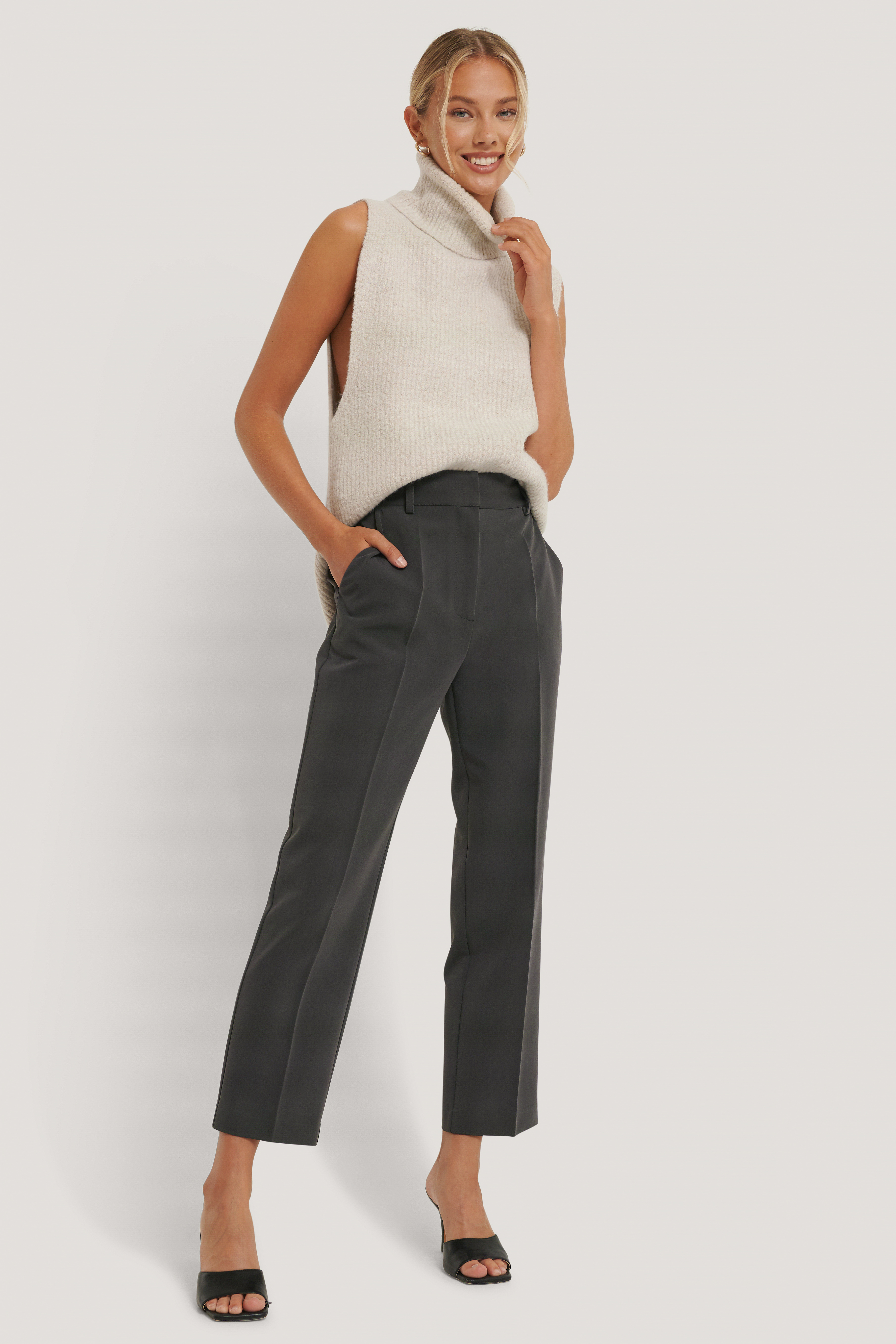 Dark Grey High Rise Cropped Suit Pants