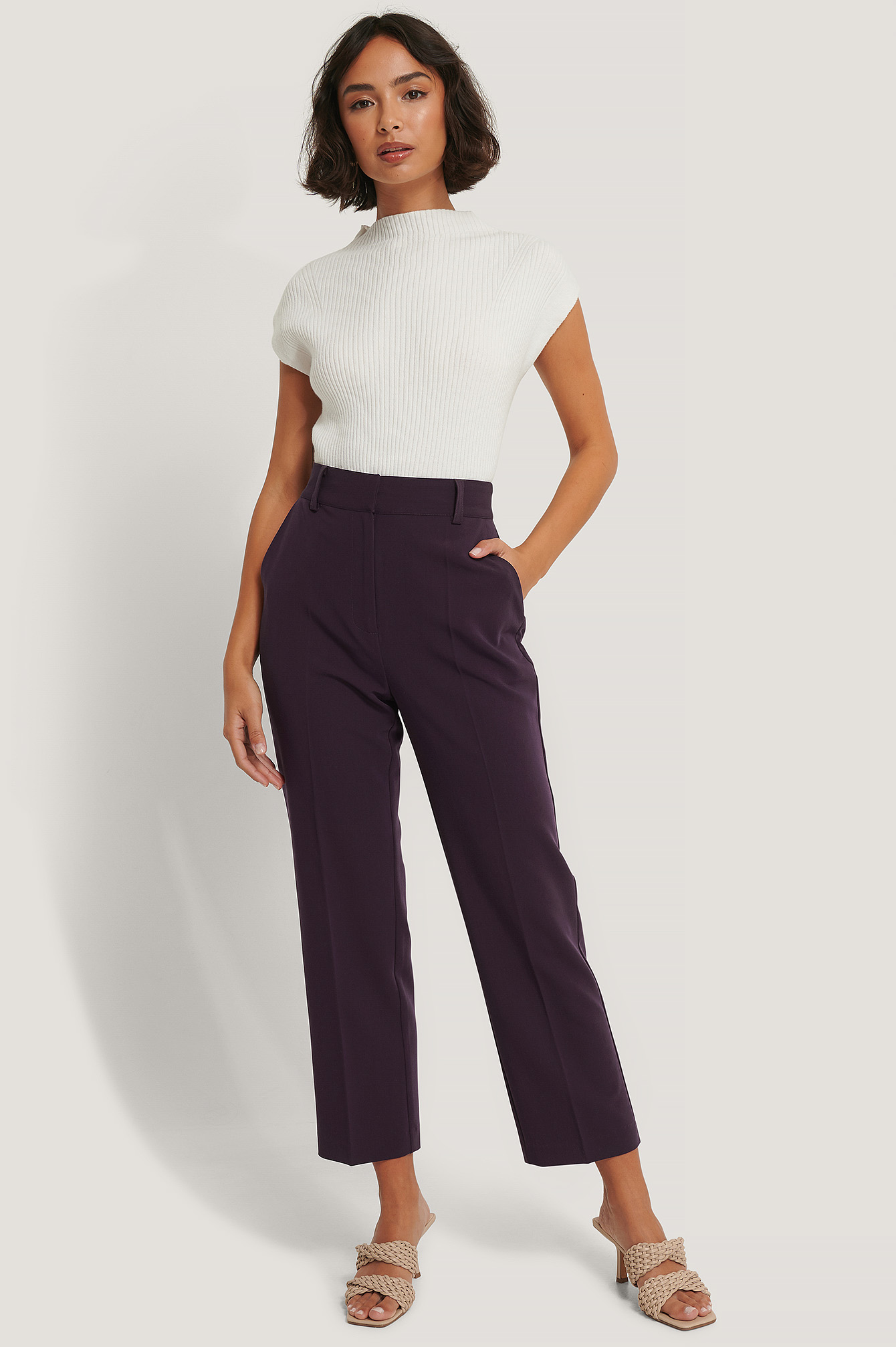 Dark Plum High Rise Cropped Suit Pants