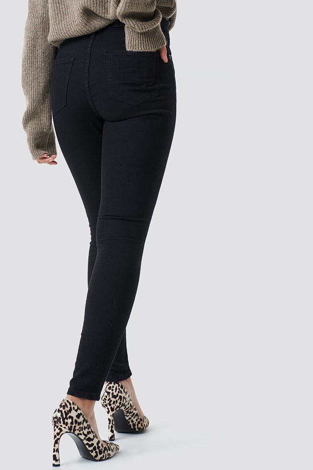 High Waist Knee Rip Super Skinny Jeans Black