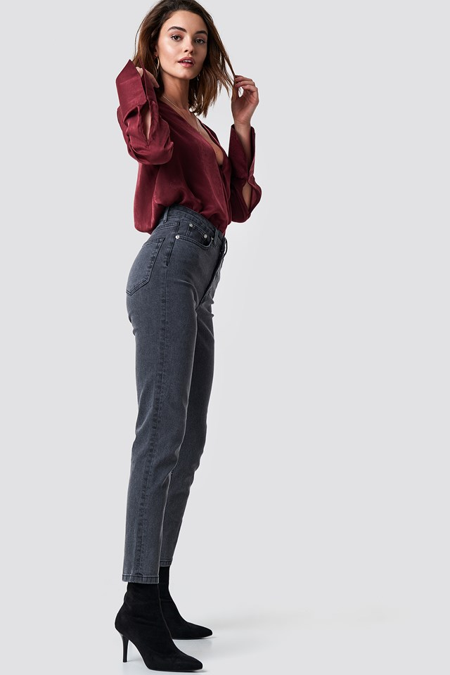 High Rise Slim Fit Jeans Grey