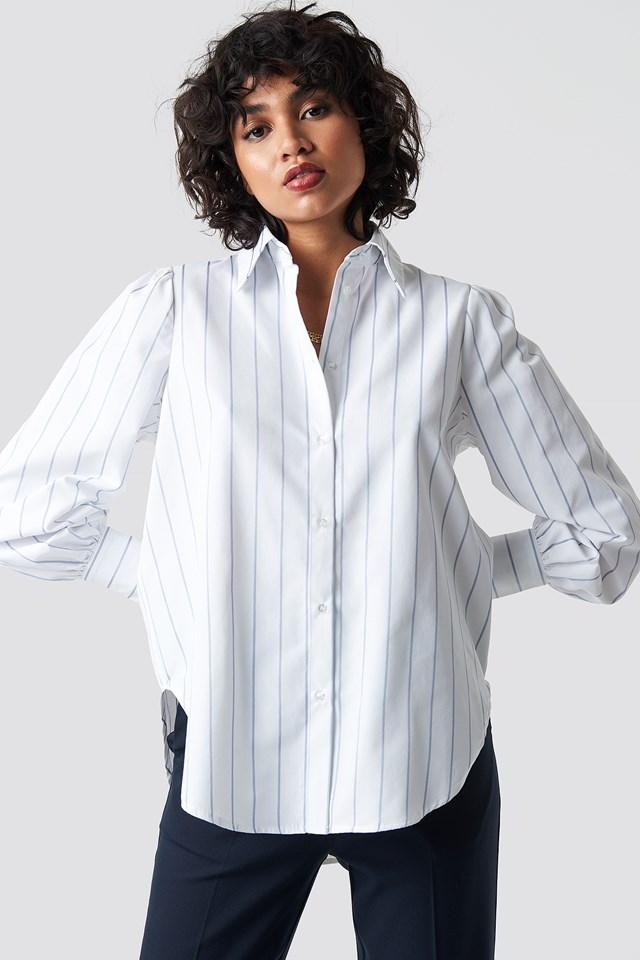 High Slit Oversized Striped Shirt Light Blue/White Stripe