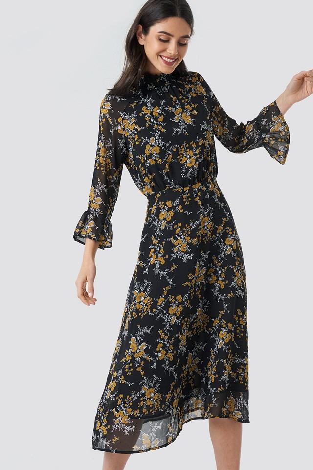 High Smock Neck Chiffon Dress Flower Print