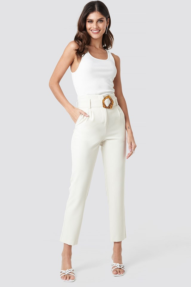 High Waist Asymmetric Belted Pants NA-KD Classic