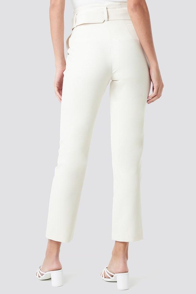 High Waist Asymmetric Belted Pants Cream