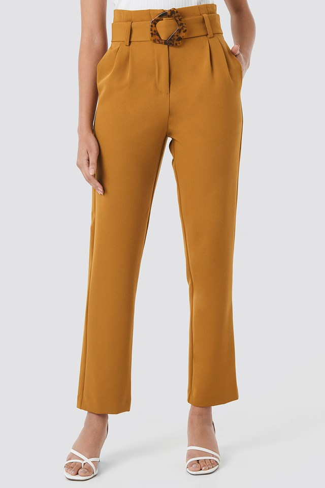 High Waist Asymmetric Belted Pants Camel