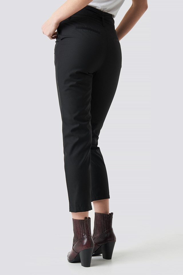 High Waist Belted Pants Black