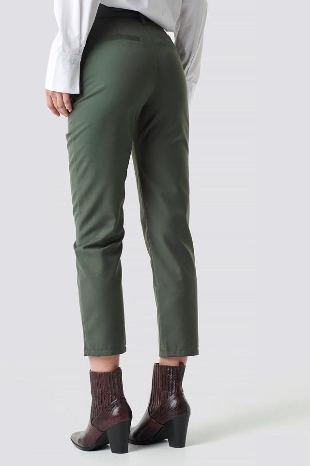 High Waist Belted Pants Dark Green