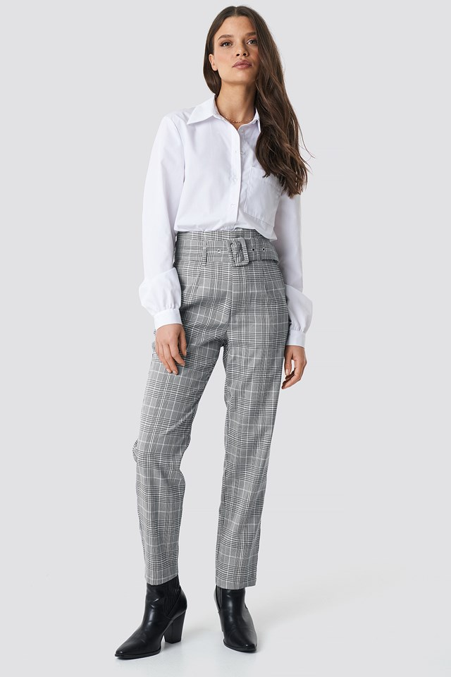 High Waist Belted Pants NA-KD Classic