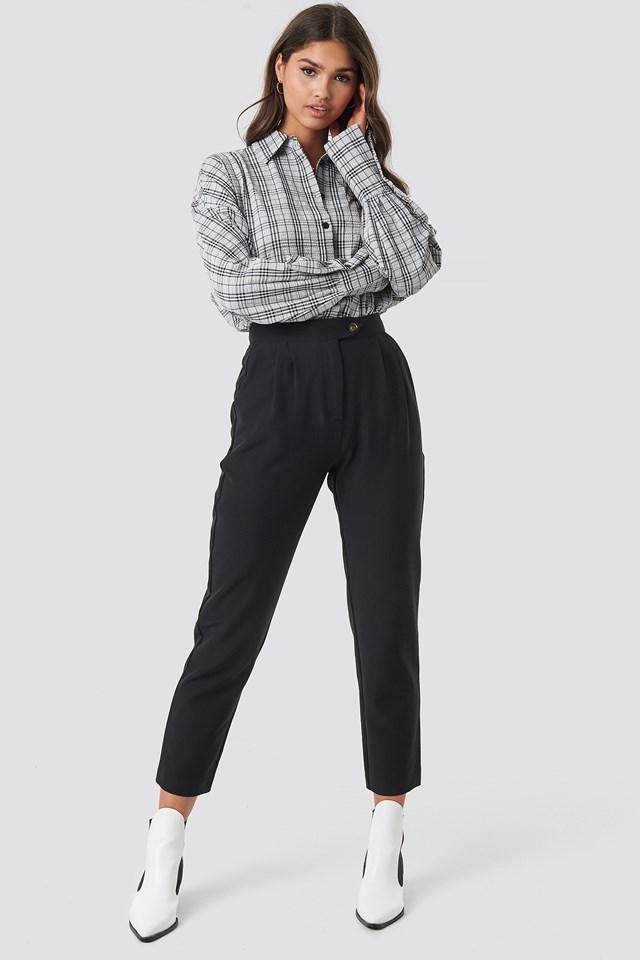 High Waist Cigarette Pants Black