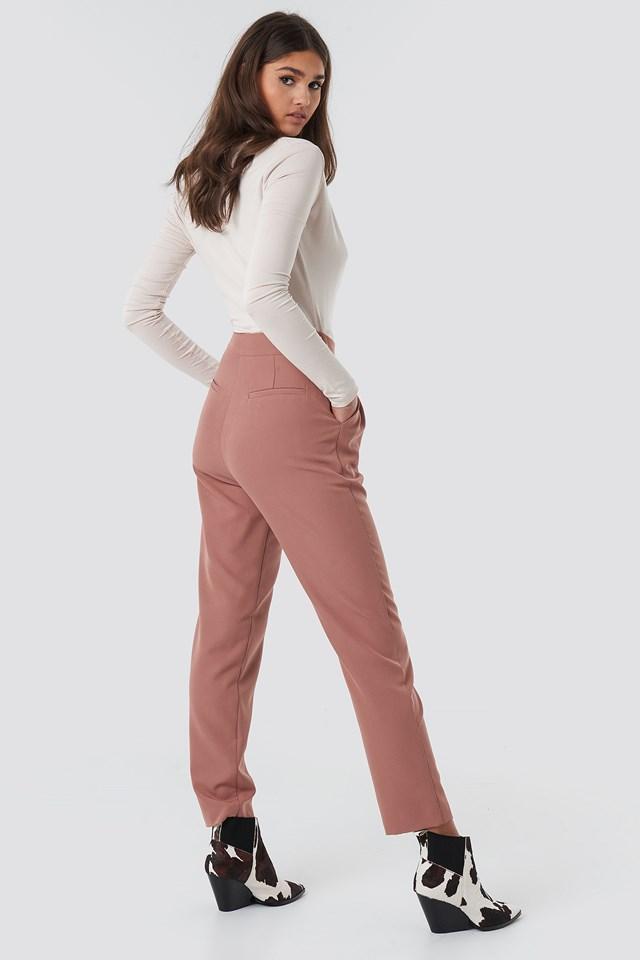 High Waist Cigarette Pants Dusty Dark Pink