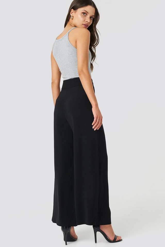 High Waist Wide Cropped Pants Black