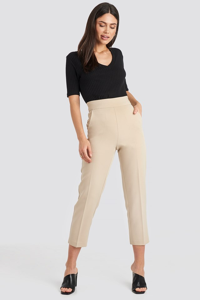 High Waist Cropped Suit Pants Sand