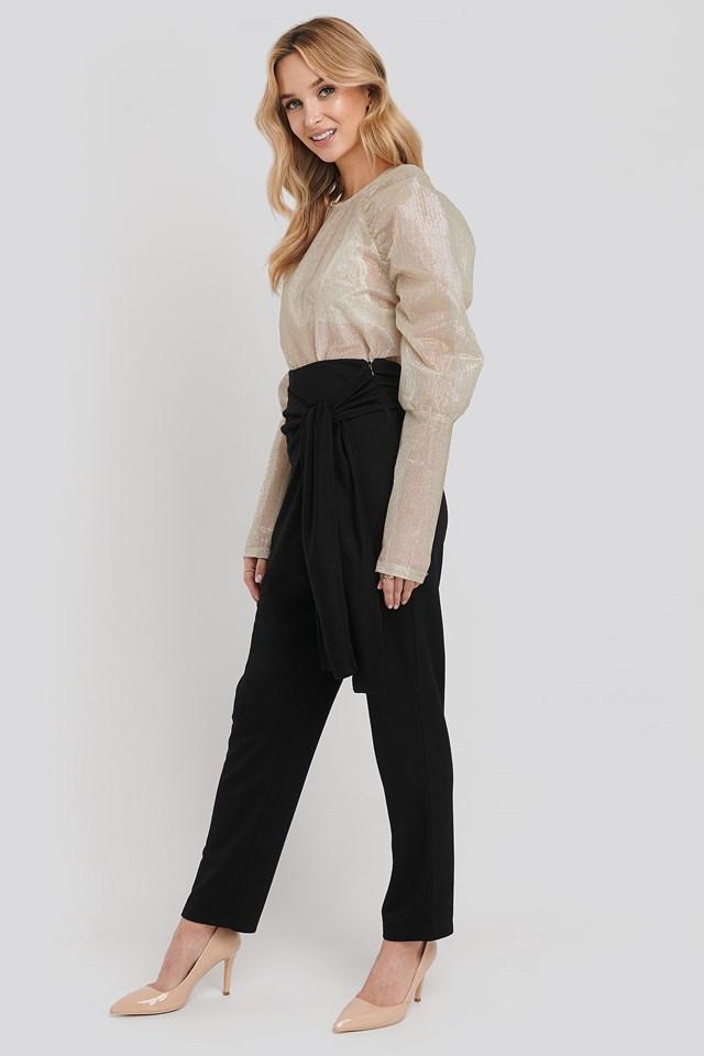 High Waist Crossover Bow Pants Black