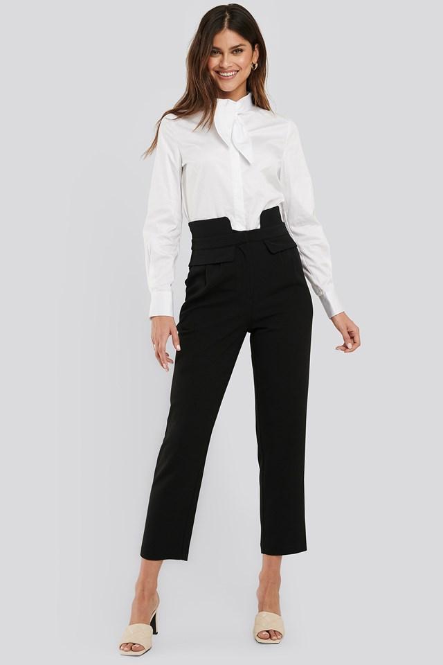 High Waist Detailed Pants Black