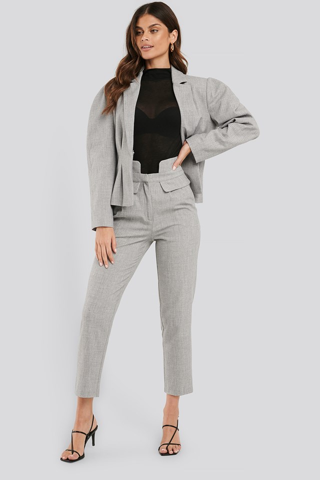 High Waist Detailed Pants Grey