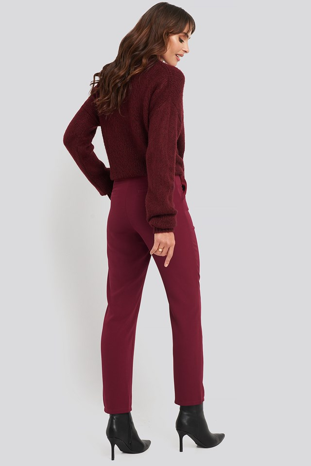 High Waist Suit Trousers Burgundy