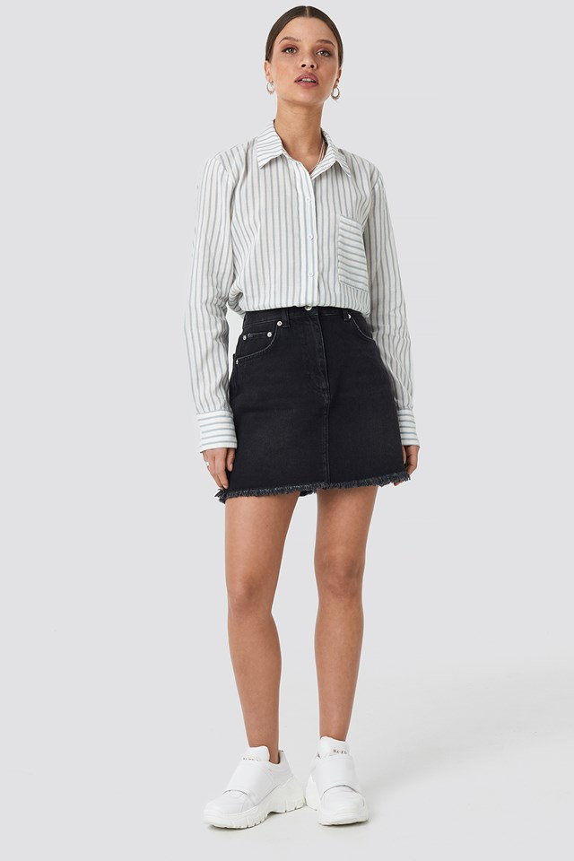 High Waist Raw Hem Denim Skirt Black Wash