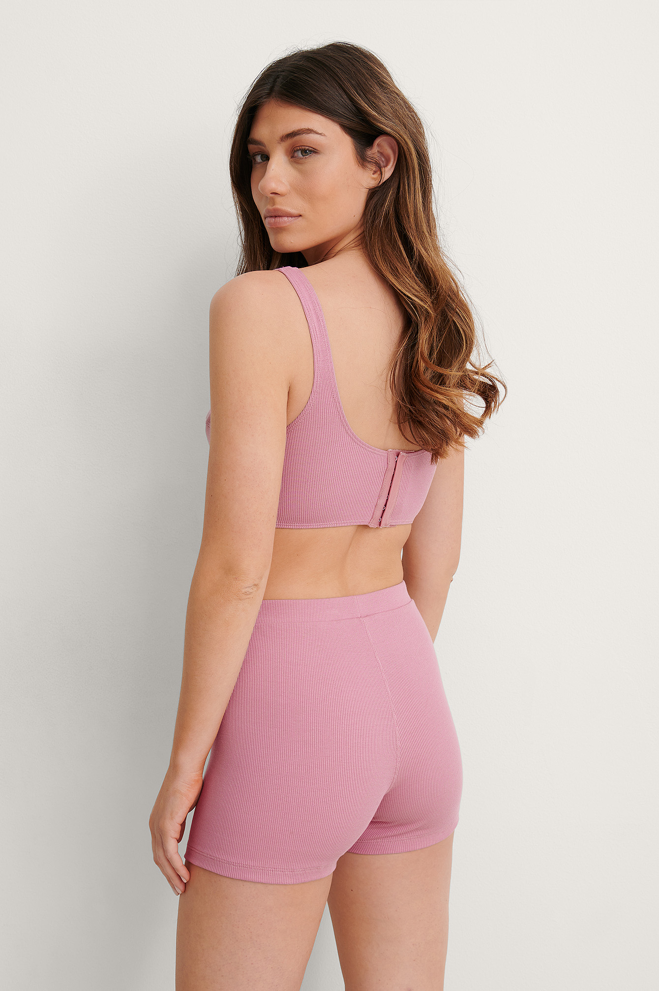 Dusty Pink High Waist Ribbed Boxer