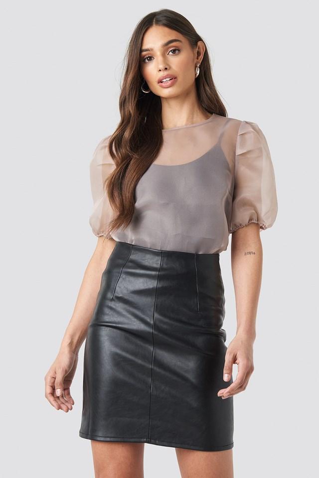 High Waist Short PU Skirt NA-KD Trend